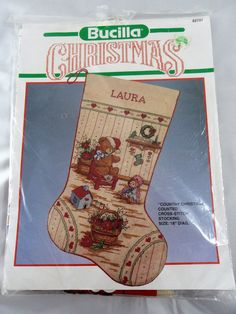 Bucilla Country Christmas Stocking Cross Stitch Kit Teddy Bear Toys #Bucilla #ChristmasStocking
