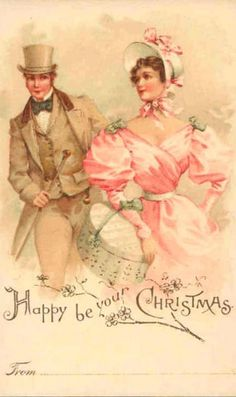 Set of TWO Pastel Victorian Christmas Couples Fabric Blocks - Great for Quilting, Pillows & Wal Love Vintage, Images Vintage, Vintage Christmas Images, Old Christmas, Old Fashioned Christmas, Victorian Christmas, Vintage Holiday, Christmas Pictures, Vintage Couples