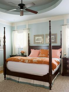 Low Doses of Color- try neutral bedding with a bright pop of color in a duvet and sham.