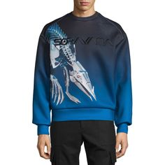 Juun J Sorayama Hajime Robot Dinosaur Sweatshirt ($595) ❤ liked on Polyvore featuring men's fashion, men's clothing, men's hoodies, men's sweatshirts, blue, mens graphic crew neck sweatshirts, mens crewneck sweatshirts, mens crew neck sweatshirts and mens graphic sweatshirts