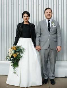 leather jacket bride