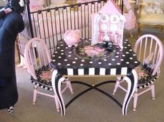 For an end table.  Poka dots on top with stripes on the side and legs:)