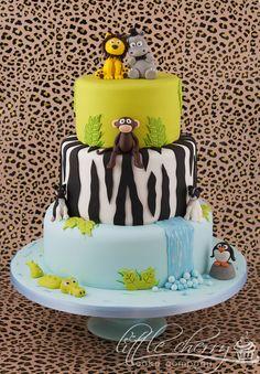 Jungle cake, love the penguin :)