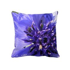 Blue Flower Pillow.  close up photo of a flower in blue and purple hues, lovely color ! $59.95
