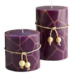 Purple Pillar Candles (Marcus and Bella's rooms- w/o the tie thing)