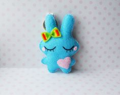 Hand sewn lovely dreaming blue bunny cute felt key by Mielamiela, $7.00