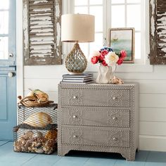We love the look of this Lexford Chest, which combines sturdy wood construction with classic linen-look upholstery, then adds a bit of dazzle using chrome stud trim and hardware. A little macho, a little glam. Find Furniture, Living Room Furniture, Home Furniture, Fish Net Decor, Sea Glass Decor, Living Room Cabinets, Beach House Decor, Home Decor, Pink Room