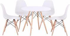 kit mesa jantar redonda eames wood + 4 cadeiras eames wood