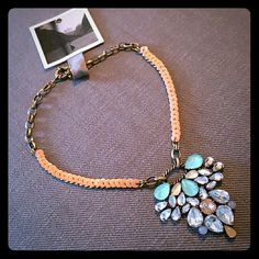 Eye-catching vintage style statement necklace Short, petal gem centerpiece necklace with vintage style from Anthropologie. Brass color metal and Peach sequin detail, turquoise, clear gems. Perfect colors for spring and summer! 2nd owner but barely used. Anthropologie Jewelry Necklaces