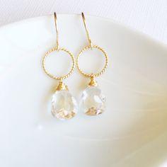 Crystal quartz mini hoop earrings ( N263)
