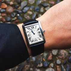 Cartier Tank Solo stainless on black leather
