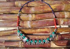 Elephant necklace, statement necklace, Elephant jewelry, Tribal statement necklace, Elephant charm, Vintage style jewelry, Turquoise beads by HandyStar on Etsy