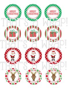 Christmas printable party circles or cupcake toppers
