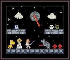 Super Mario Star Wars Funny Cross Stitch Pattern PDF Instant