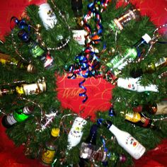 Airplane bottle wreath made for a Christmas Party by a fellow employee