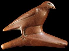 "Bird effigy Hopewell pipe, Madison County, Illinois HOPEWELL CULTURE This bird effigy platform pipe represents one of the earliest examples of catlinite pipes. This pipe was discovered during levy construction in Madison County, Illinois sometime in the mid 1800's. It has been illustrated in several publications, including ""The History Of Madison County."" This pipe dates to approximately 1600 years before present. http://lithiccastinglab.com/gallery-pages/2009julycatlinitepipespage1.htm"