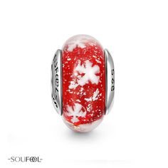 Snowy Winter Murano Glass Bead.  The white snowflakes make the charm so perfect for Christmas. SOUFEEL jewelry, for every memorable day.
