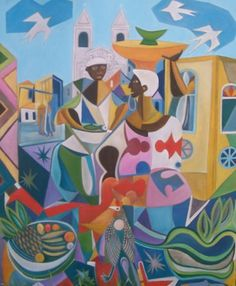 Releitura de As Baianas - Di Cavalcanti por Fredi Ambrogi Ateliê Técnica Mista http://www.elo7.com.br/pintura-em-tela-releitura-di-cavalcanti/dp/2E65EC