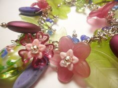 Spring green beaded bracelet with fuschia by ImagiciteCreations, $34.00
