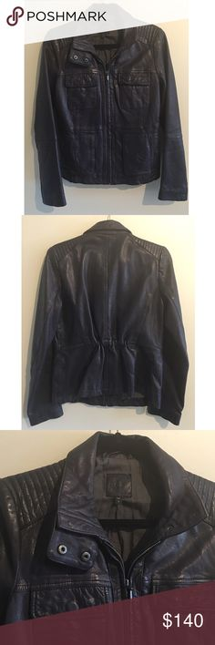 """GAP Navy Genuine Leather Jacket Gap genuine leather navy Moto jacket. This is the perfect fall/ winter jacket for any outfit. Made of 100% genuine leather. Has two side pockets and two upper pockets. Fully zipped. Measures from pit to pit 18""""/ length 24""""  🚫NO TRADES, LOWBALL OFFERS WILL BE IGNORED🚫 GAP Jackets & Coats"""