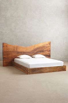 Live Edge Wood King Bed by Anthropologie Oyster King Furniture King Furniture, Live Edge Furniture, Unique Furniture, Bedroom Furniture, Home Furniture, Furniture Design, Rustic Furniture, Diy Bett, Wood Headboard