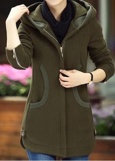 #rotita.com - #unsigned Long Sleeve Zipper Up Army Green Pocket Coat - AdoreWe.com