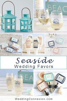 A seaside wedding theme is such a wonderful idea. Everyone enjoys that happy, relaxing feeling when walking on a beach on a warm sunny day. Summer Wedding Favors, Edible Wedding Favors, Wedding Welcome Bags, Bridal Shower Favors, Personalized Champagne Flutes, Stemless Champagne Flutes, Seaside Wedding, Nautical Wedding, Wedding Souvenir
