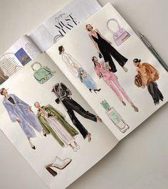 Fashion Design Sketchbook, Fashion Design Drawings, Art Sketchbook, Fashion Sketches, Fashion Portfolio, Portfolio Design, Silhouette Mode, Student Fashion, Illustration Sketches