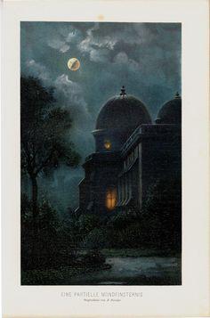 1898 Original Antique MOON ECLIPSE print A by TwoCatsAntiquePrints
