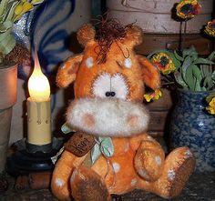 "Primitive Raggedy Giraffe Fuzzy Baby Bear 5"" Doll ★ Vtg Patti's Ratties Ornie"