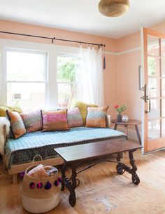 Peachy Pink Living Room In The Oakland, CA Home Of Jewelry Designer Marisa  Haskell And