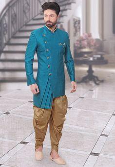 Wedding Suit Plain Art Silk Sherwani in Light blue : Sherwani For Men Wedding, Wedding Dresses Men Indian, Wedding Dress Men, Nigerian Men Fashion, Indian Men Fashion, Mens Fashion Wear, Mens Indian Wear, Mens Ethnic Wear, Mens Kurta Designs