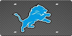 Detroit Lions Inlaid Acrylic License Plate with Carbon Fiber