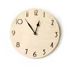 Wood Clock with Numbers, Laser Cut Wall Clock, Modern Art and Decor Etsy Free Shipping, Living Room Clocks, Handmade Clocks, Wall Clock Design, Wood Clocks, Wood Home Decor, Laser Cut Wood, House In The Woods, Custom Wood
