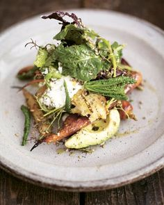 Jamie Oliver's roasted carrot salad with avocado & orange lemon dressing.