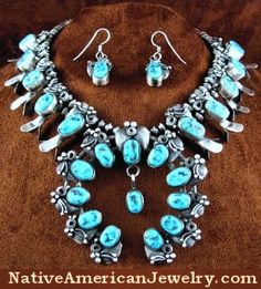 R664N - Native American Jewelry   Squash Blossom Jewelry   Turquoise Silver Necklace   Hook Earrings   Turquoise Squash Blossom Necklace   Old Pawn Vintage Style