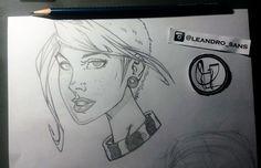 Studie face comics female.  Art by Leandro Sans.