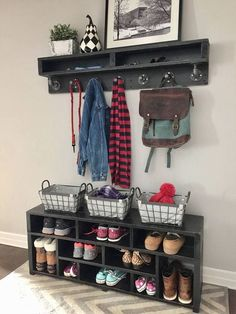 Shoe Rack and Shoe… Garage Shoe Storage, Coat And Shoe Storage, Entryway Shoe Storage, Shoe Storage Cabinet, Bench With Shoe Storage, Diy Storage, Storage Spaces, Storage Ideas, Shoe Bench
