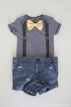 Interchangeable Bowtie Onesie....with Attached Suspenders (2 variations) --- Make It and Love It