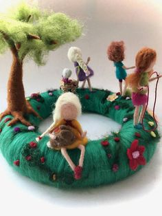 Table Wreath with playing children.Needle Felted.