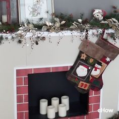 Cardboard fireplace made from display boards like we used in school. No chimney? No problem. Hang your stockings here!