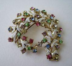 Vintage 50s Mid Century Hollywood Regency Goldtone Enamel Pastel Rhinestone Brooch Pin  by ThePaisleyUnicorn, $12.00