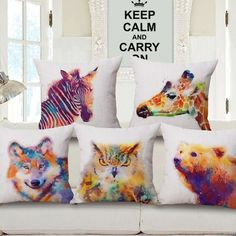 >> Click to Buy << Animal ink linen pillow cover colorful Oil painting pillowcase zebra/owl/wolf/beer/tiger printing decorative pillowcase hot sale #Affiliate