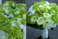ornamental grasses, green berries, ivory hydrangea, green spider mums and (mini green hydrangea and ivory roses in the bride's bouquet only).