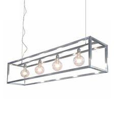 Hanglamp industrieel balk rvs eettafel - www.straluma.nl