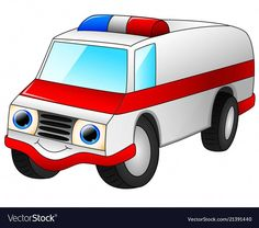 Ambulance car cartoon isolated on white background vector image on VectorStock Cartoon Smile, Happy Cartoon, Cartoon Boy, Cartoon People, Ship Vector, Car Vector, Vector Art, Wuhan, Scientist Cartoon