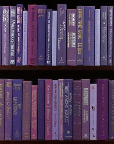 """Purple Passion"" with sumptuous purple bindings, these modern ""cloth"" hardbacks range from lavender to indigo. Books by the Foot."