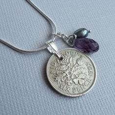 Four Tip Pendant 1954 Lucky Sixpence 65th Birthday Ready To Hang Fancy Colours Other Fashion Jewelry