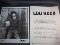 Lou Reed, Promotional Biography and Promotional Photo, Lou Reed Memorabilia!