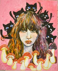 Black cat    Mushroom   girl #Acrylic paint